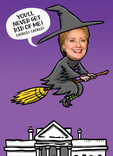 Hillary Witch Halloween Card Cover
