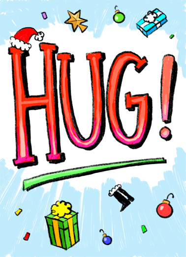Hug From Me XMAS Christmas Ecard Cover