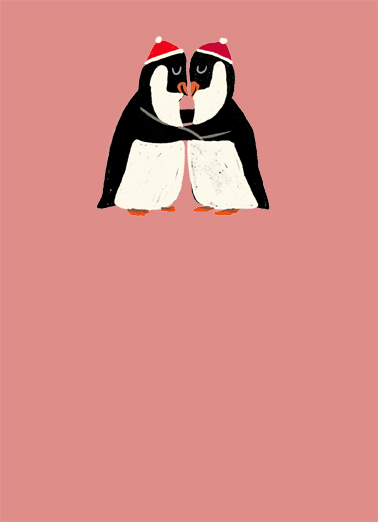 Hugging Penguins Valentine's Day Card Cover