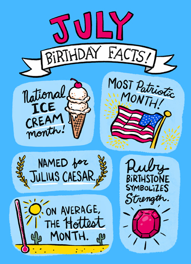 July Bday Facts July Birthday Card Cover