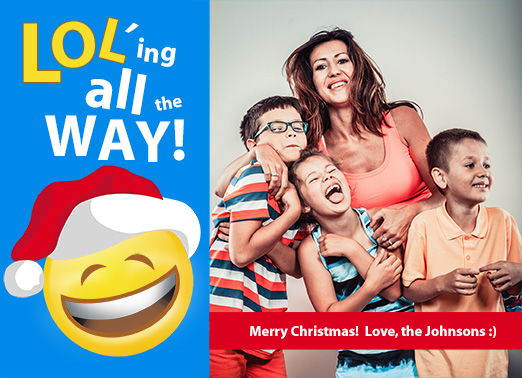 Fun Add Your Photo Christmas Cards and Flats LOLing All the Way! | LOL emoji funny christmas flat cute photo customize photos topical funny silly emoticon face smile santa