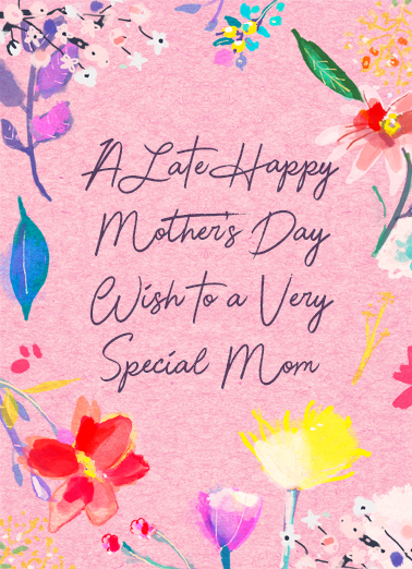 Late Happy Wish Mother's Day Card Cover