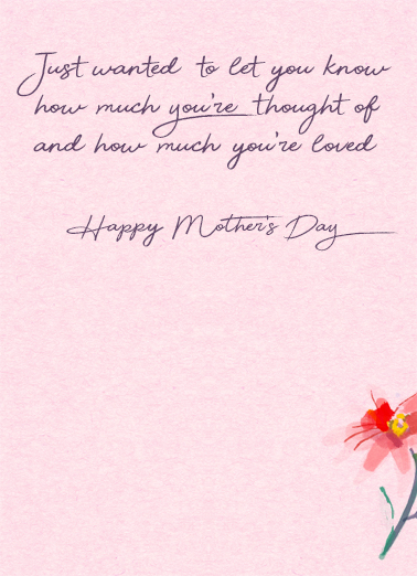 Late Happy Wish Mother's Day Card Inside