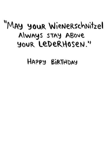 Lederhosen Birthday Card Inside