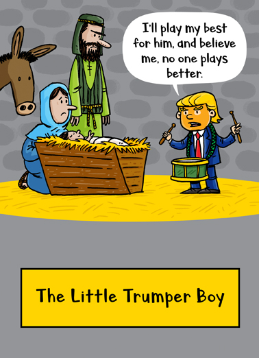 Little Trumper Boy Christmas Card Cover