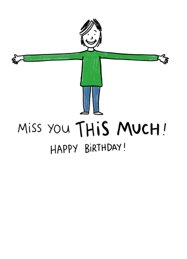 Love You, Miss You Birthday Card Inside