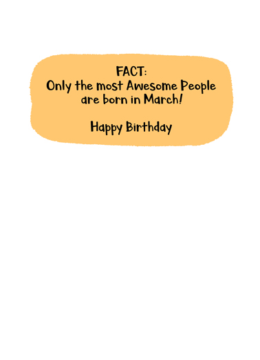 March Bday Facts St. Patrick's Day Card Inside