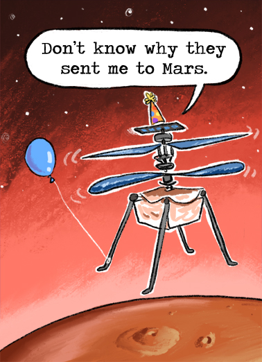 Mars Helicopter Birthday Card Cover