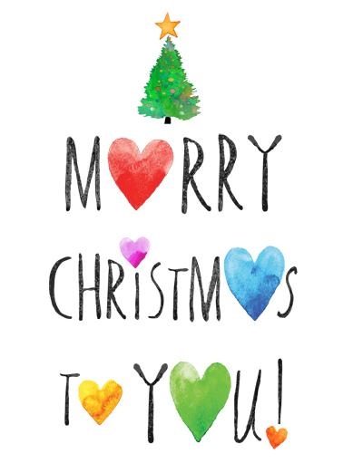 Merry Christmas Hearts Christmas Ecard Cover