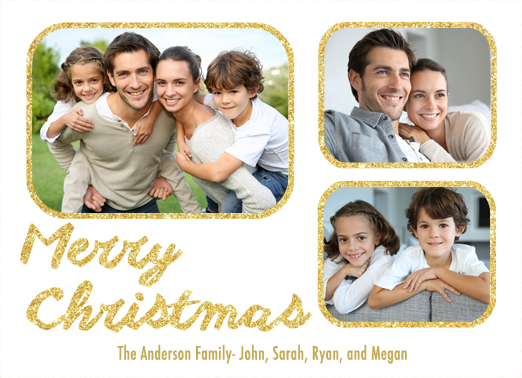 Fun Add Your Photo Christmas Cards and Flats Merry Christmas and Happy New Year add photo white gold dust winter