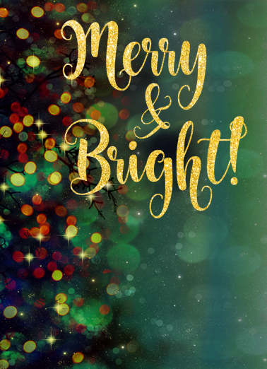 Merry and Bright Glitter Christmas Ecard Cover
