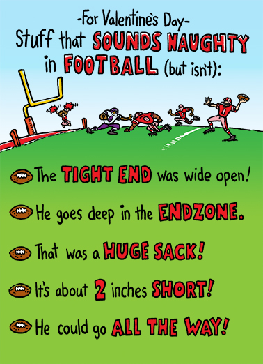 Naughty Football Valentine's Day Ecard Cover