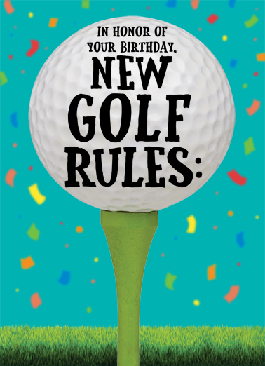 New Golf Rules Birthday Card Cover