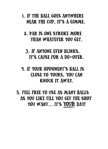 New Golf Rules Birthday Card Inside