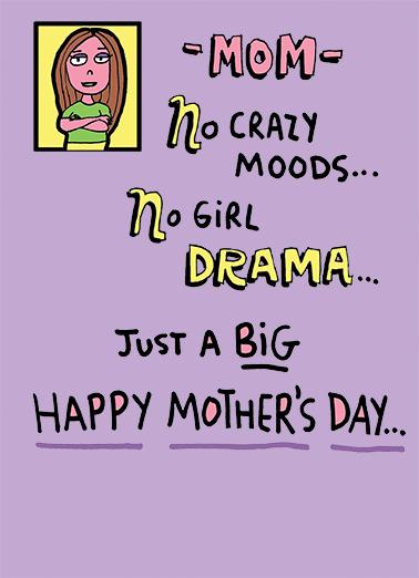 No Drama For Mom Ecard Cover