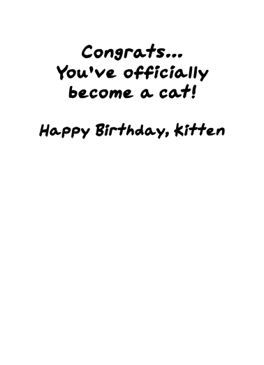 Officially A Cat Birthday Card Inside