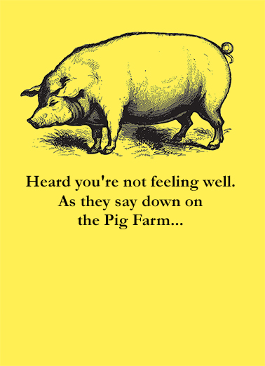 Pig Farm Get Well Card Cover