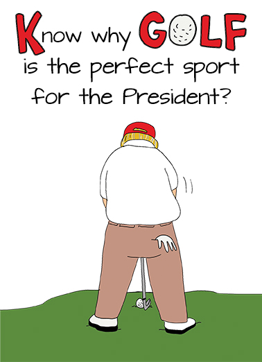 President Likes Golf Birthday Card Cover