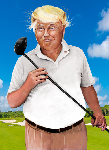 President Trump Golfing Birthday Card Cover