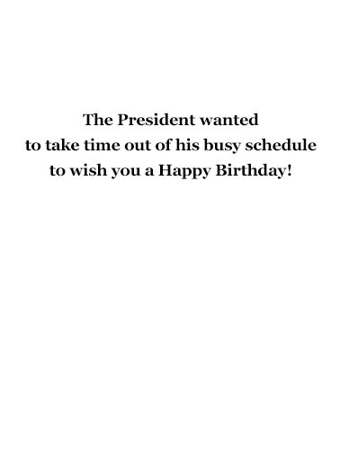President Trump Golfing Birthday Card Inside