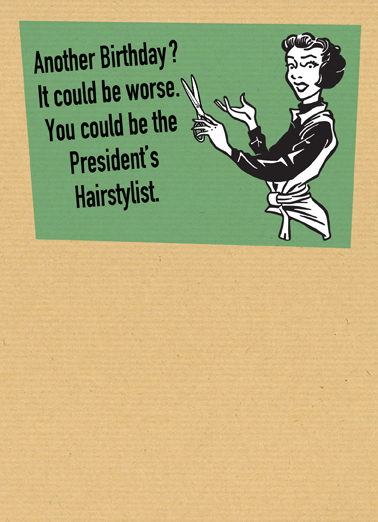 Presidents Hairstylist Vintage Ecard Cover