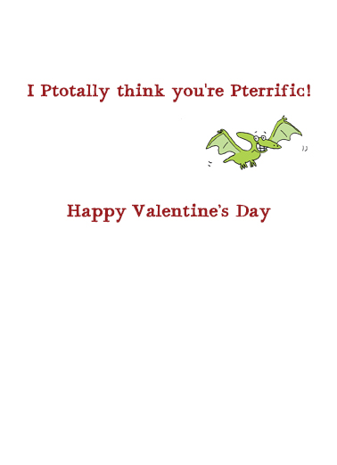 Pterrific Coworker Val Valentine's Day Ecard Inside