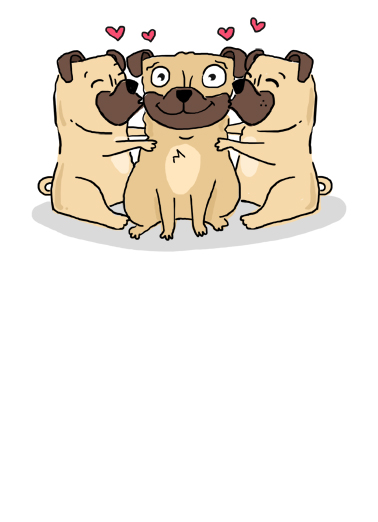Pug Cartoon Hug Birthday Ecard Cover