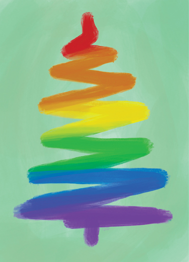 Rainbow Christmas Tree Christmas Card Cover