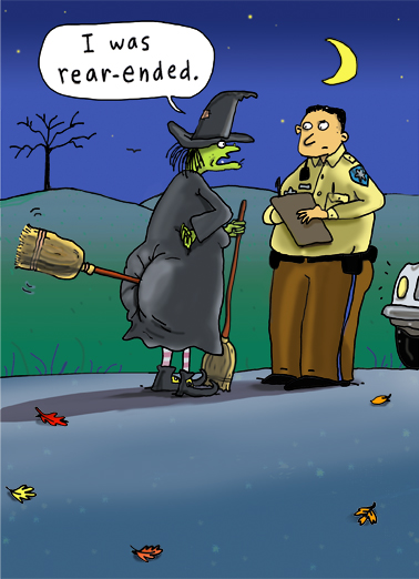 Rear Ended Halloween Card Cover