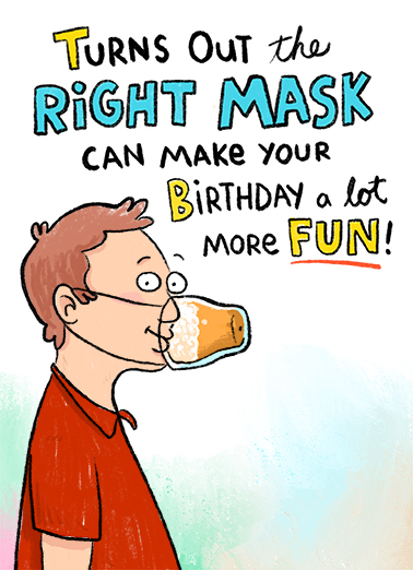 Right Mask BDAY Birthday Card Cover