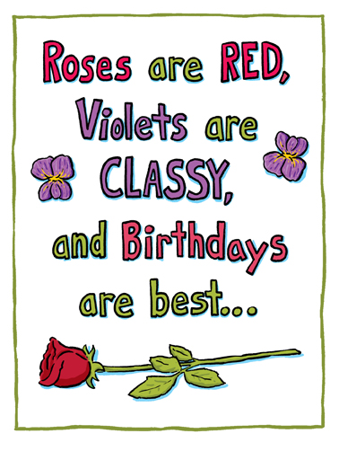 Roses are Red Birthday Lee Ecard Cover