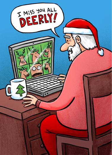Santa Deerly  Ecard Cover