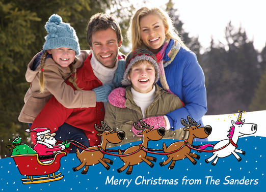 Fun Add Your Photo Christmas Cards and Flats Personalized  add your Photo card with santa claus and his sleigh of reindeers plus a unicorn | magic magical christmas card greeting cartoon comic funny unicorns