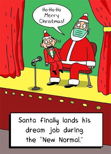 Santa Ventriloquist Christmas Card Cover