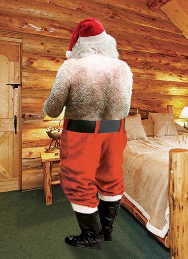 Santas Back Christmas Card Cover