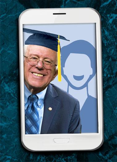 Selfie Bernie Grad Graduation Ecard Cover