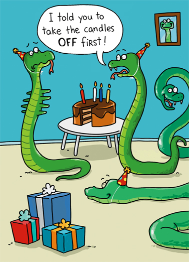 Snake Candles Funny Animals Ecard Cover