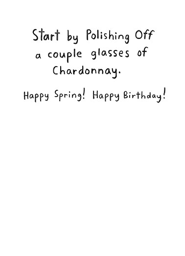 Spring Cleaning Birthday Card Inside