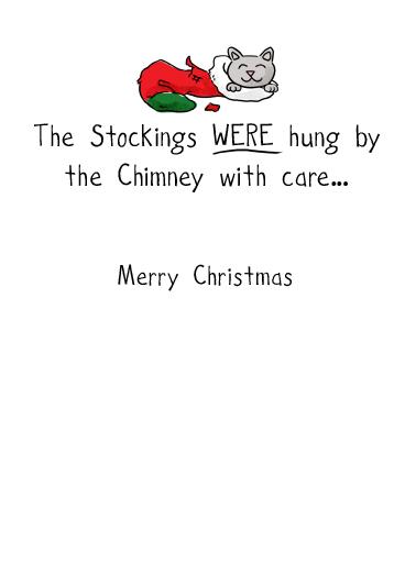 Stocking Kitties Christmas Card Inside