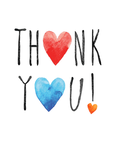 Thank You Hearts Thank You Card Cover