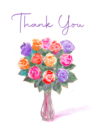 Thank You Rose Bouquet One from the Heart Card Cover
