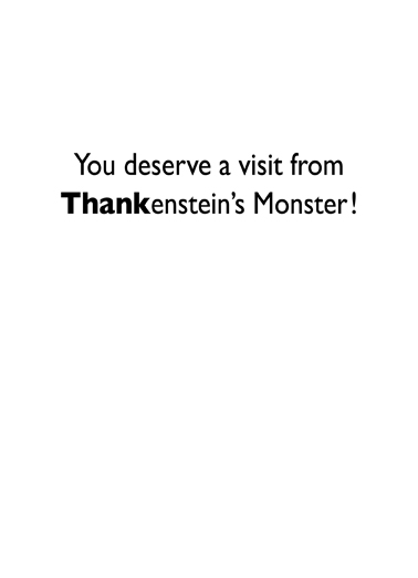 Thankenstein Thank You Card Inside