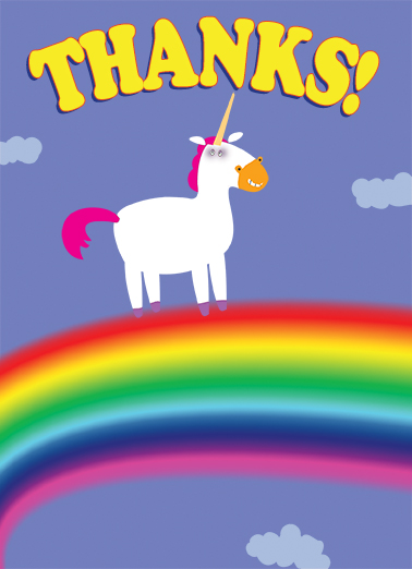 Thanks Unicorn Thank You Card Cover