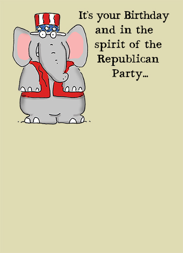 The Republican Party Birthday Card Cover