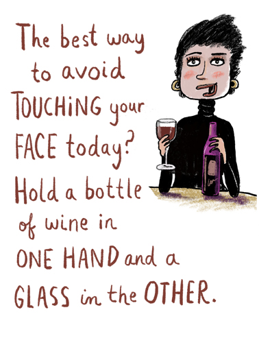 Touching Face Wine Ecard Cover