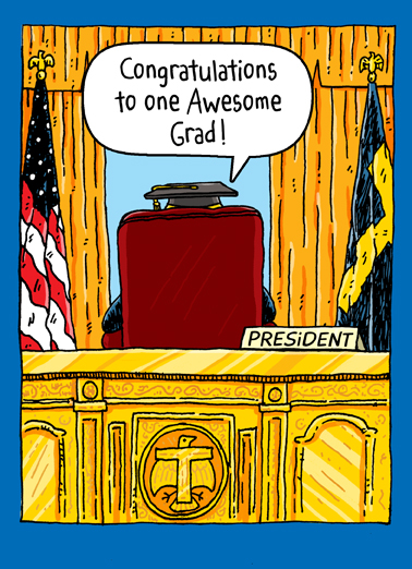 Trump Oval Office Grad Cartoons Card Cover