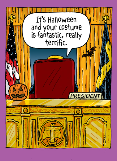 Trump Oval Office Hal Halloween Card Cover