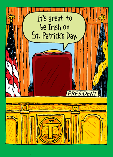 Trump Oval Office St. Paddy St. Patrick's Day Card Cover
