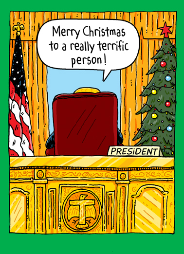 Trump Oval Office Xmas Christmas Ecard Cover