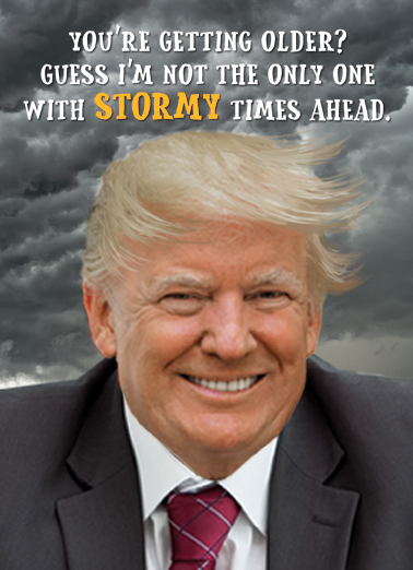 Trump Stormy Clouds Birthday Card Cover